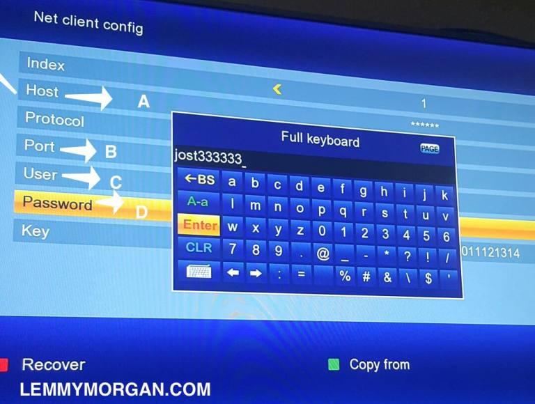 input cccam account details into gsky receiver