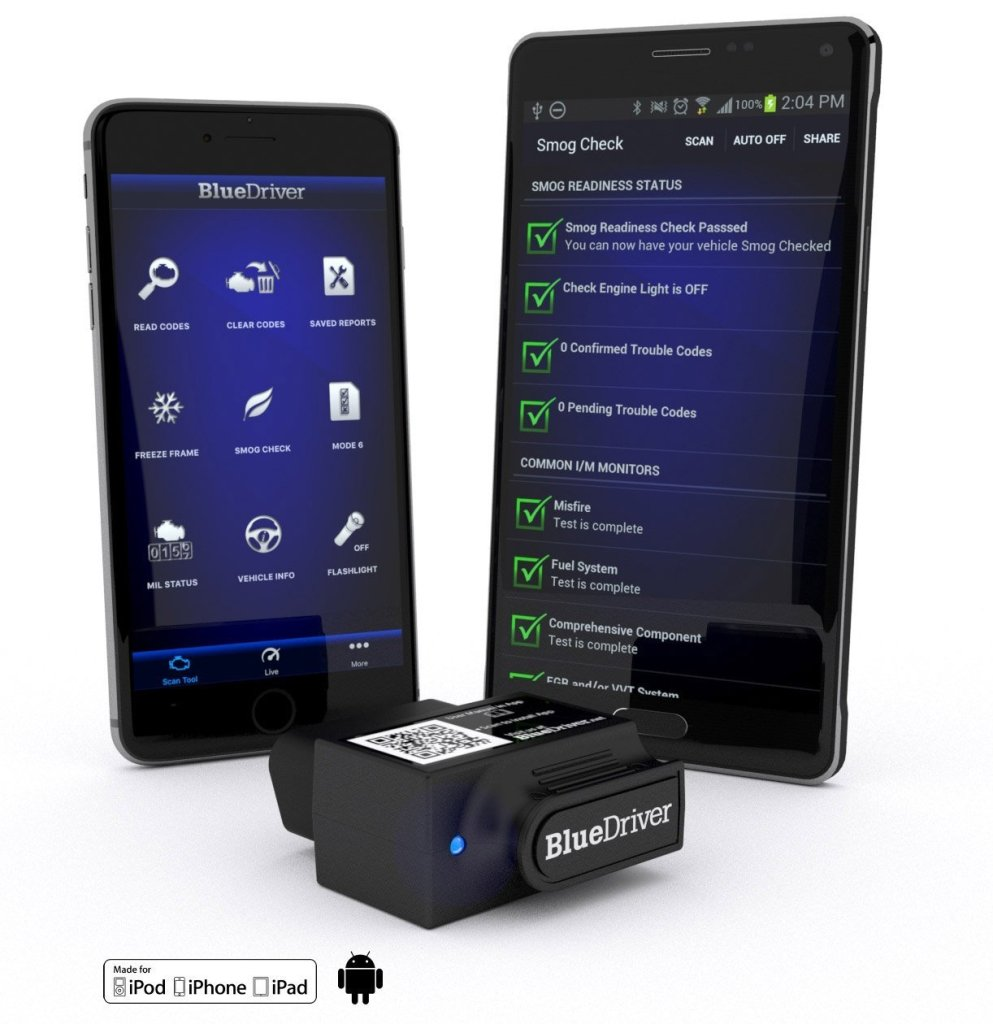 User interface of BlueDriver bluetooth OBDII scanner