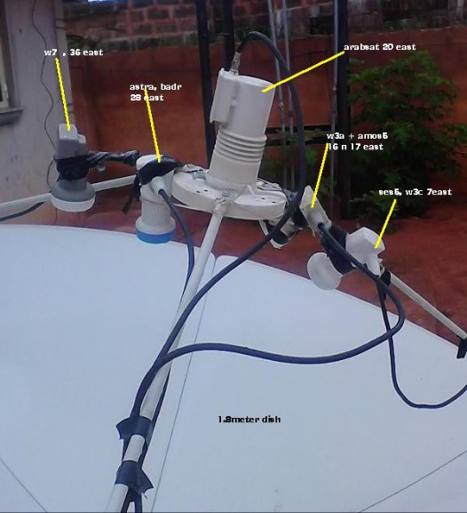 multiple LNB on a big dish installed in Nigeria