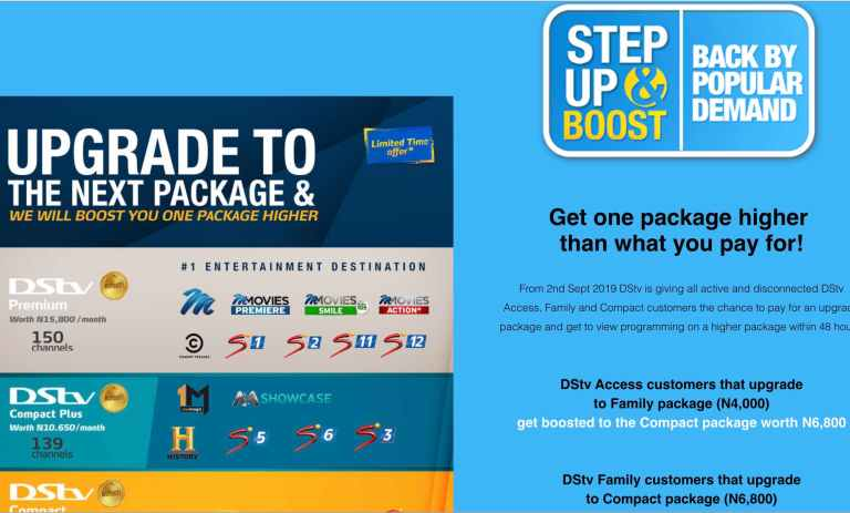DStv upgrade and boost promo september 2019
