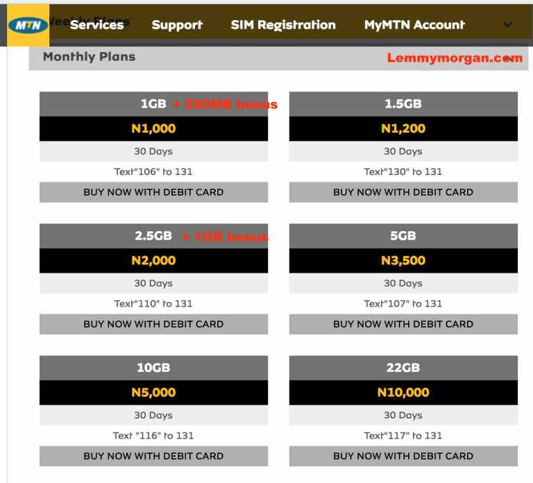 Current MTN Nigeria Data prices and USSD Codes