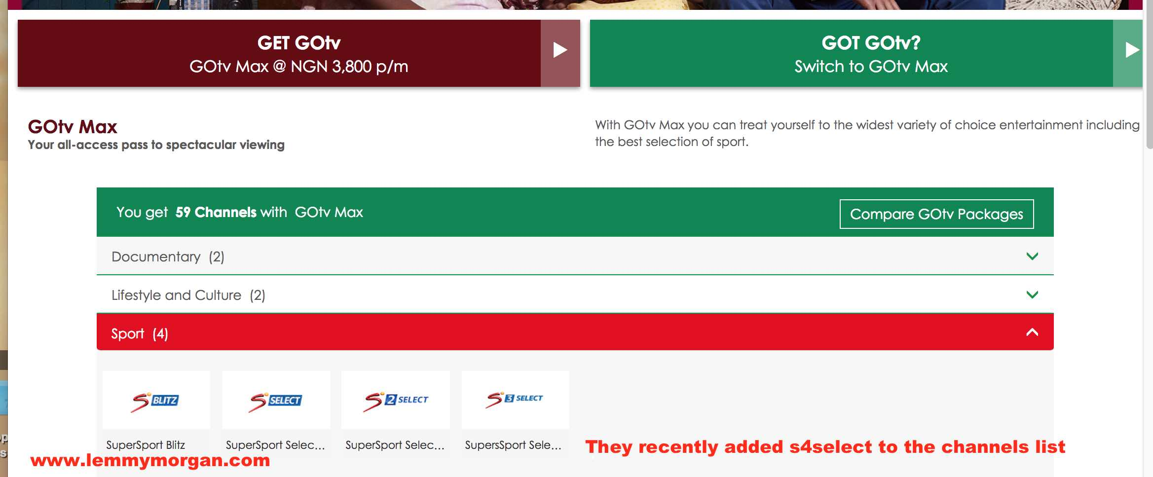 Introducing new GOtv Max subscription comes with five sports channels