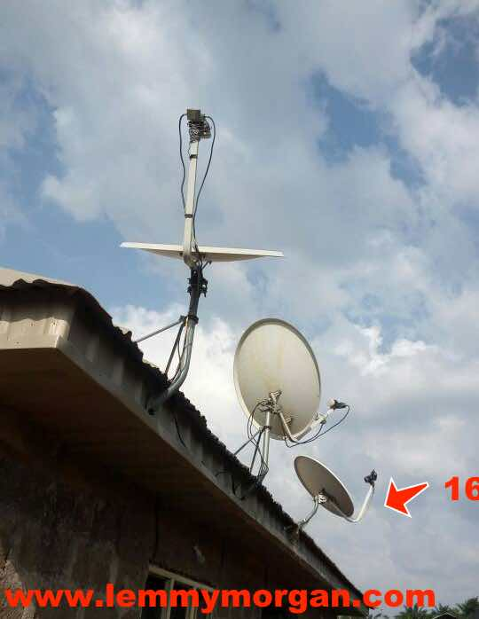 Tstv & MBC 7w on the same 90cm dish using an improvised LNB holder - also track 28.2E, 42.5ºE & 55ºE on a 90cm