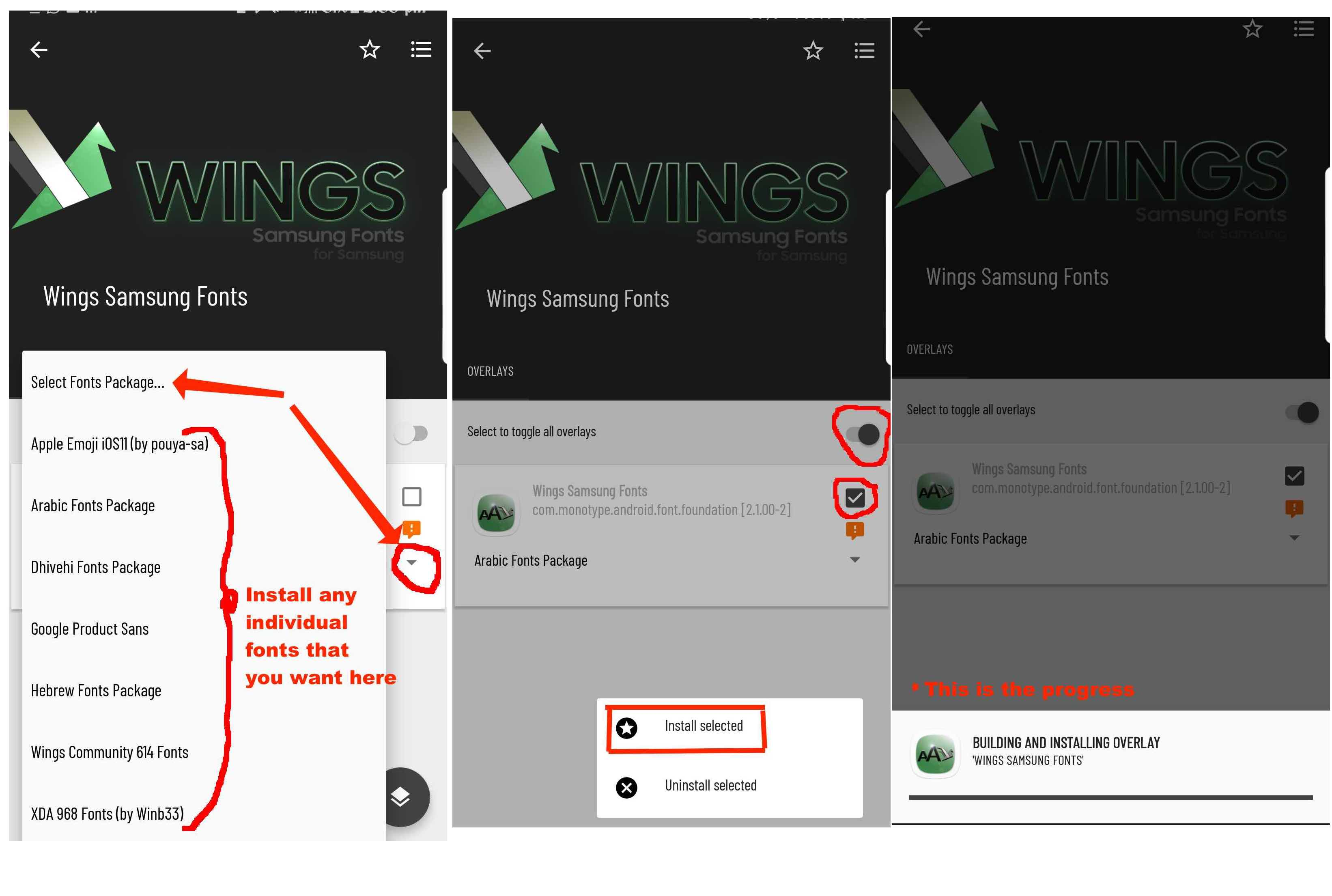 Wings Samsung Fonts installation Guide for Android OS V7 and newer