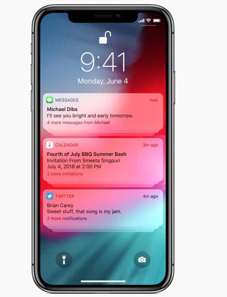 iOS 12 group Notification