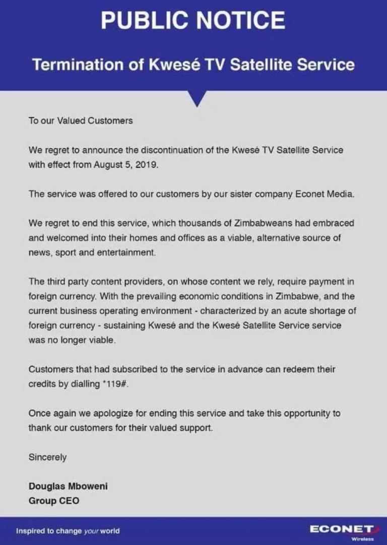 Kwese TV satellite TV Service termination notice