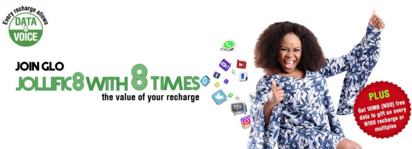 How to Activate Glo Jollific8 free Data Where you can get 5GB(#100 bal) or 10GB(N200 bal) – Money would not be touched