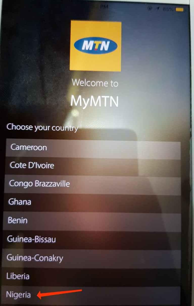 MyMTN App free data language selection
