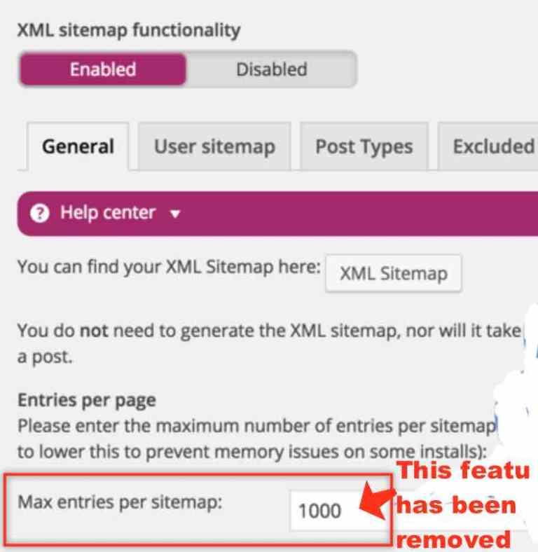 Yoast SEO Max entries per sitemap
