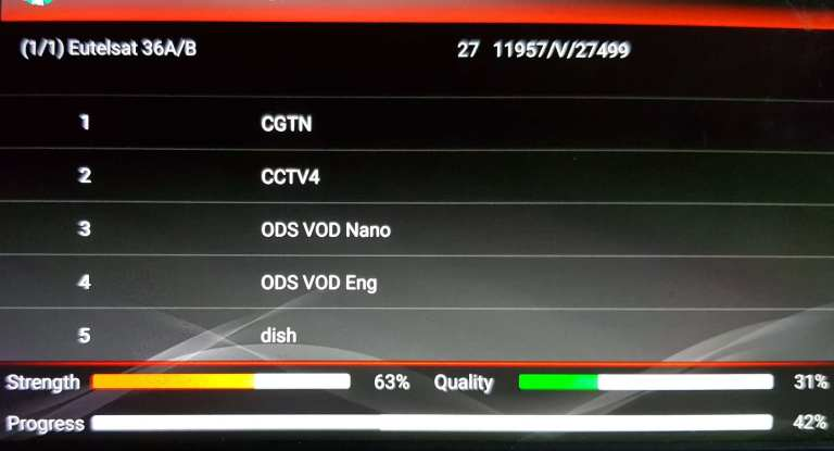 DVBPlayer Android app channels searching in progress