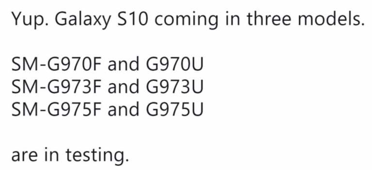 Galaxy s10 3 model names and numbers confirmed