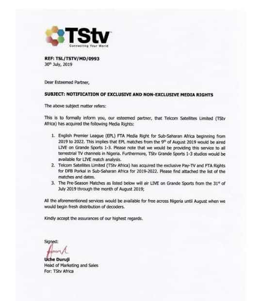 Official letter confirming TStv right to broadcast EPL,DFB and pre-season games