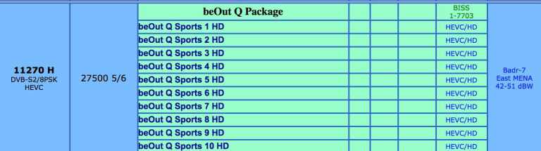 beOut Q Sports package channels list