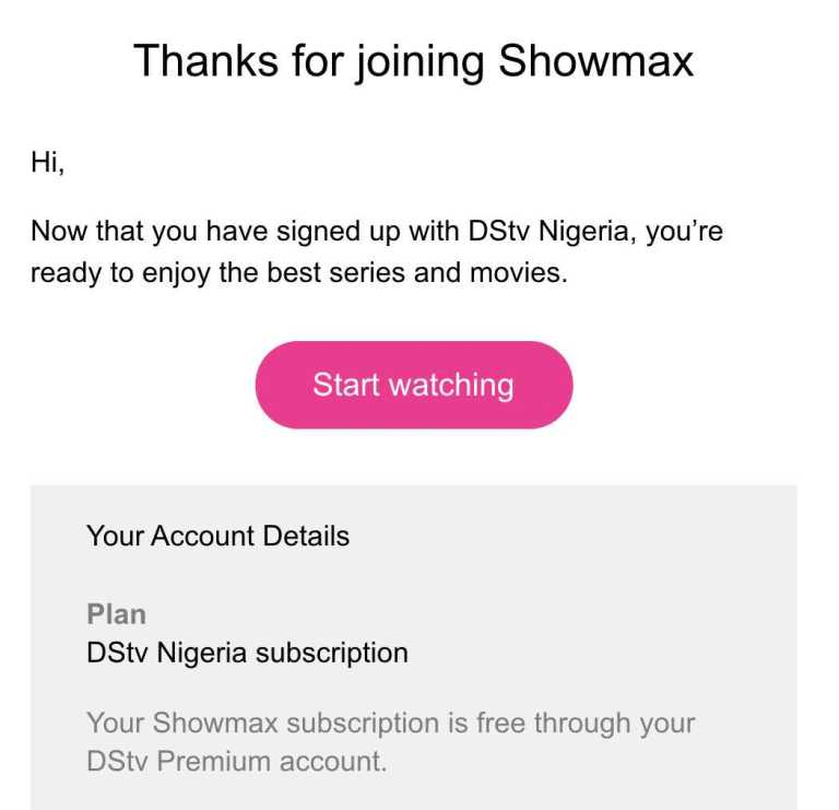 success message after adding showmax to premium account