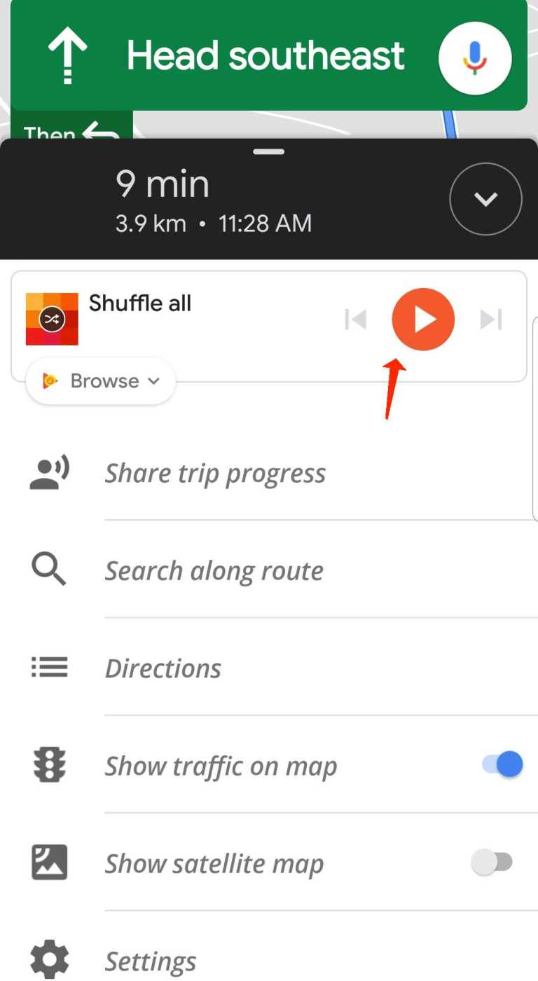 how to play music while using google maps