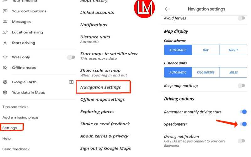Steps to turn on speedometer on google maps