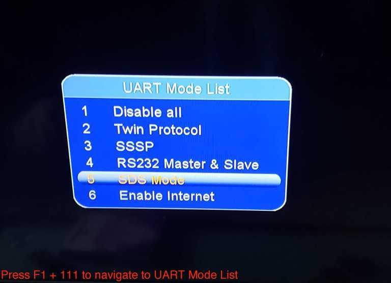 SDS mode on Tiger and starsat UART list