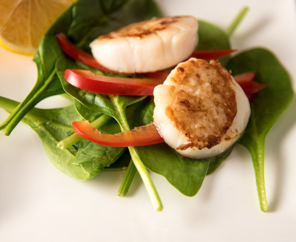 Scallops and spinach salad
