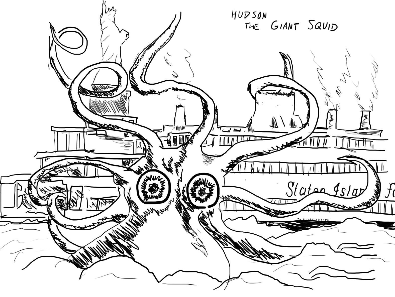 Giant Squid Colouring Pages Page 2 Sketch Coloring Page