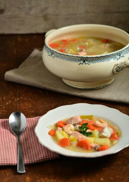 légumes bouillon poisson crevettes
