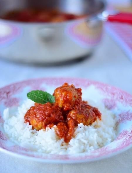 boulettes boeuf poulet menthe sauce tomate