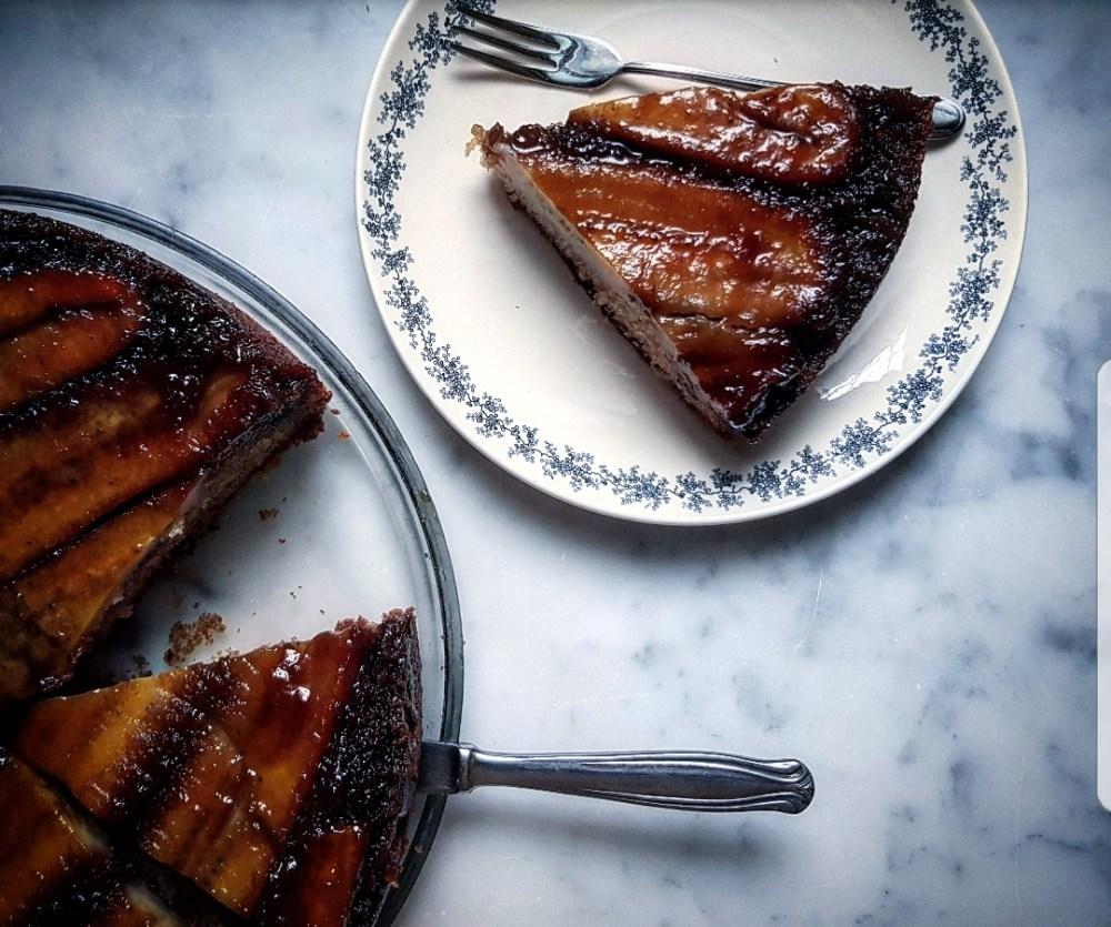 torta rovesciata con banane caramellate