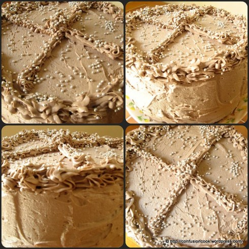 Eggless Checkerboard Cake with Chocolate Buttercream Frosting