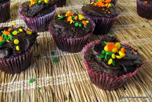 Eggless Chocolate Cupcake with Ganache & Rainbow Sprinkles