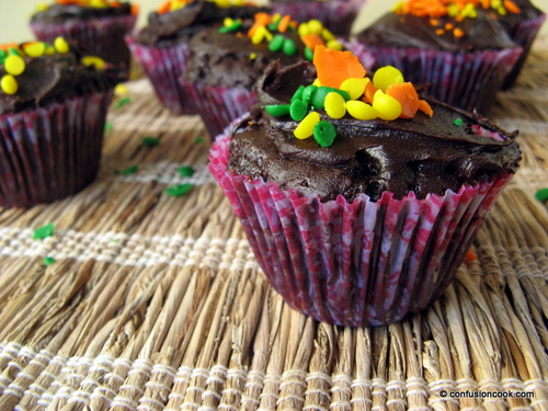 Eggless Chocolate Cupcake with Ganache & Rainbow Sprinkles