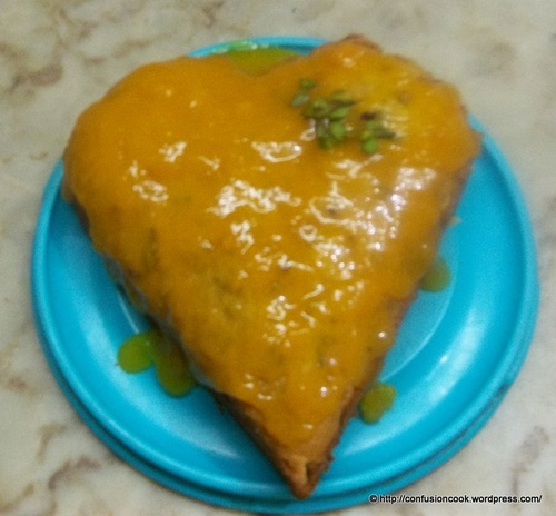 Eggless Mango Cake with Mango Sauce