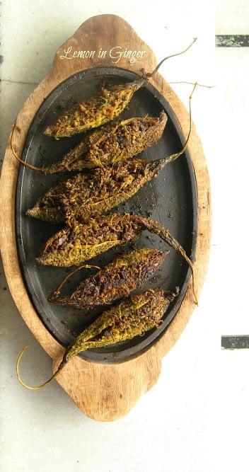 Stuffed Roasted Bitter Gourd | Bharwan Karela