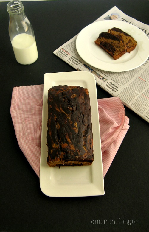 Eggless Whole Wheat Marble Banana QuickBread