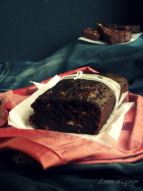 Eggless Chocolate Cucumber Banana Quickbread