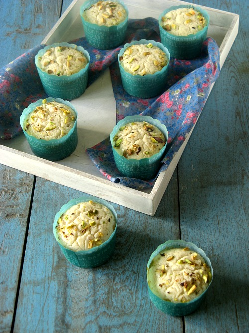 Eggless Mawa Cupcakes with Pistachios