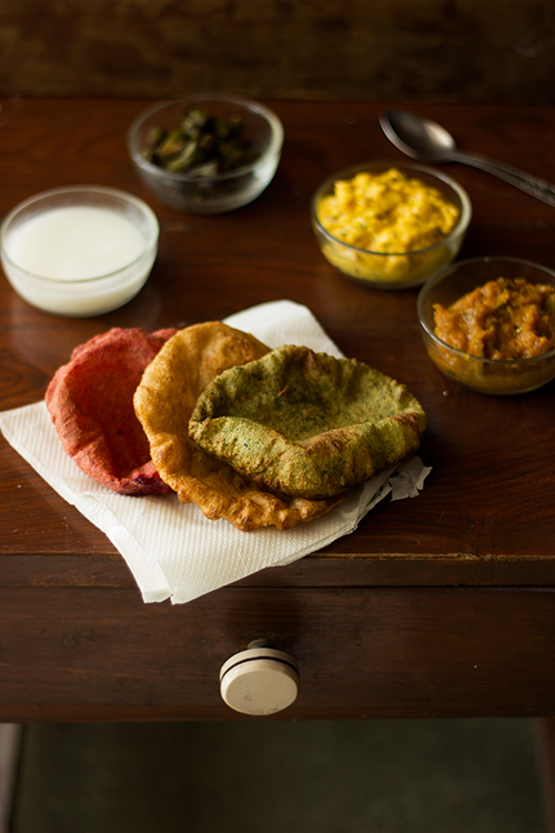 Beetroot & Spinach Pooris – Tiranga or Tricolor PooriS