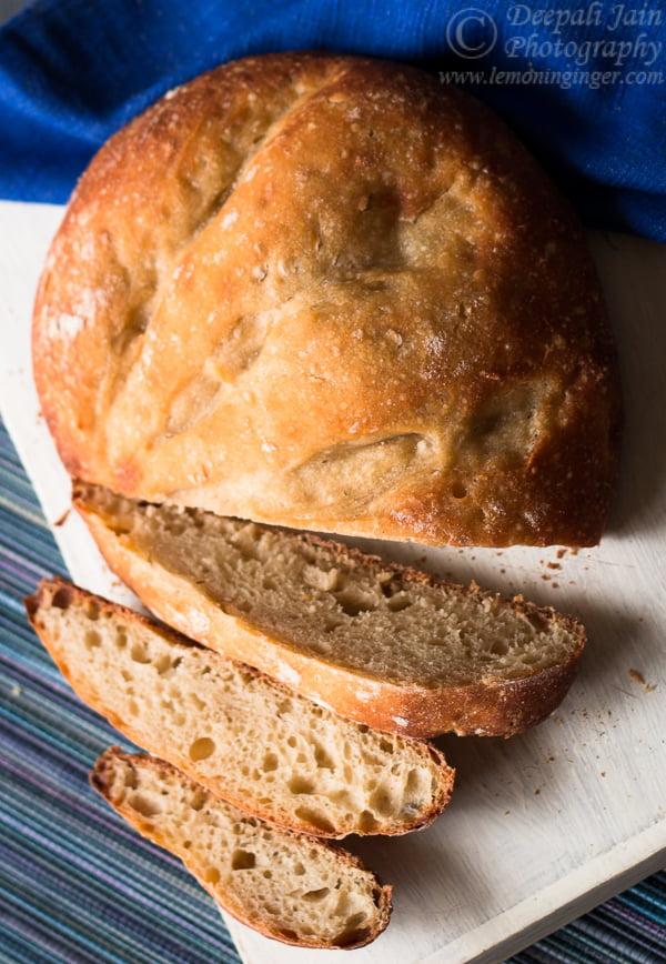 No-Knead Light Whole Wheat Bread