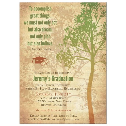 Rustic Tree Inspirational Quote Graduation Party Invitation