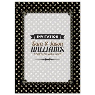 Gold Polka Dots Art Deco Wedding Invitation