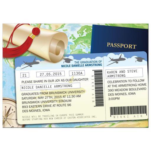 Travel Documents Passport Ticket Graduation Party Invitation