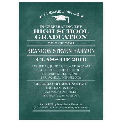 Green Chalkboard Chalk Graduation Party Invitation