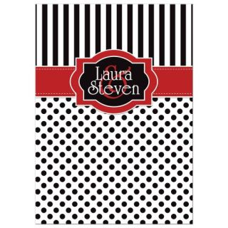 Wedding Invitation | Black, White, Red | Polka Dots & Stripes