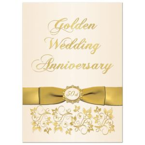 Ivory and Gold Floral Bow 50th Wedding Anniversary Invitation