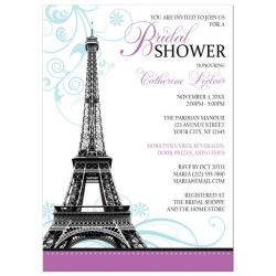 Modern Eiffel Tower Parisian Bridal Shower Invitation