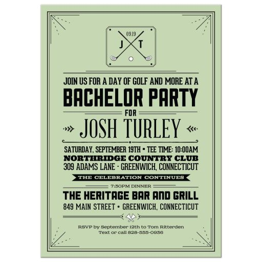 Retro Hipster Golf Bachelor Party Invitation