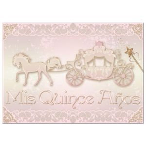 Blush Pink, Gold Princess Carriage with Horse Photo Quinceañera Invite