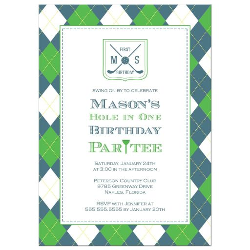 Birthday Party Invitation - Blue and Green Argyle Golf