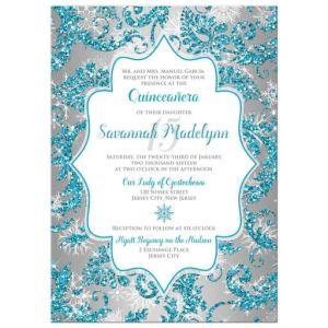 Quinceañera Invitation | Winter Wonderland Turquoise, Silver Faux Glitter | Snowflakes