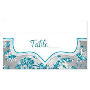 Quinceañera Place Card or Escort Card | Winter Wonderland Turquoise, Silver Faux Glitter | Snowflakes