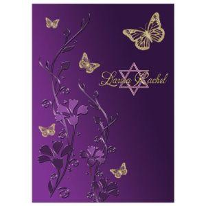 Purple, Gold Flowers, Butterflies Star of David Bat Mitzvah Invitation