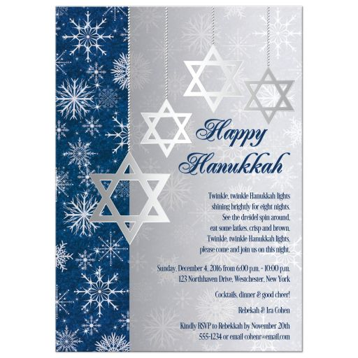 Blue Silver Jewish Star of David Hanukkah Party Invitation